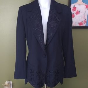 Escada Wool Large Navy Floral embroidered blazer